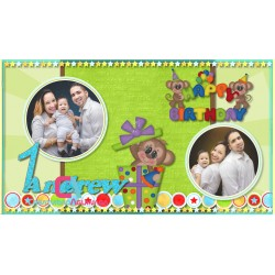 Animated Invitation Happy Birthday Monkey    My First Year